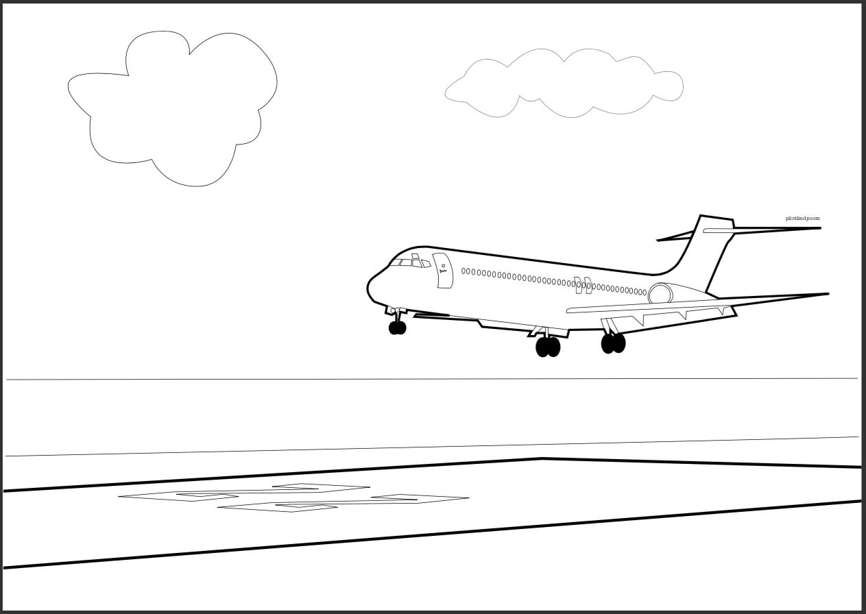 B717 Landing Coloring Page